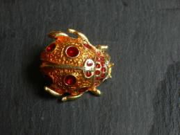 (3) Broche En Metal - Coccinelle Emaillé - Brooches