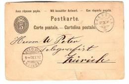Ganzsache,23.X.1893 Casaccia To Zürich,entier Postal Stationery - Stamped Stationery