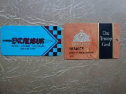 2 CARTES CASINOS +LAS VÉGAS + EXCALIBUR + THE TRUMP PLAZA + - Casinokarten