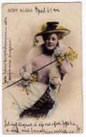 PHOTOGRAPHS WOMAN A LADY HAT FLOWERS KURY KLARA OLD POSTCARD 1902. - Photographs