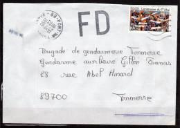 Lettre Du 22.6.90  Avec Marque  De FD   Cachet Pont Sur Yonne - Postmark Collection (Covers)