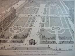 Paris , Le Plan Du Nouveau Jardin Créé Sur L'emplacement Du Palais Des Tuileries  , Gravure Sgap Dessin Bresssler 1889 - Documents Historiques