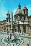 ROMA - Piazza/ Place Navona : Particolare Della Fontana Dei Fiumi E Chiesa Di S. Agnese In Agone - Circulée En 1973 - Piazze