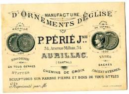 15  AURILLAC  MANUFACTURE D ORNEMENT D EGLISE  -  CARTE PUBLICITAIRE - Aurillac