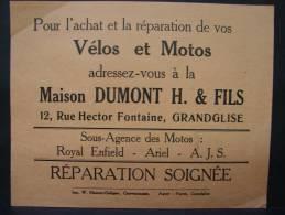 Pu. Aj2. Feuillet Publictaire De Vélos Et Motos, Maison Dumont H. & Fils à Grandglise. - Publicidad