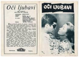 "PROGRAMS FILM ""EYES OF LOVE"" FRANCE FILM ACTOR JEAN-CLAUDE BRIALY DISTRIBUTED BY KINEMA SARAJEVO SIZE 24X17 CM - Programs"