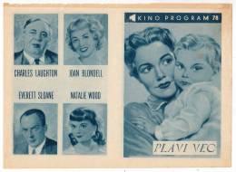 "PROGRAMS FILM ""THE BLUE VEIL"" AMERICAN FILM ACTRESS JANE WYMAN DISTRIBUTED BY LJUBLJANA SIZE 24X17 CM - Programs"