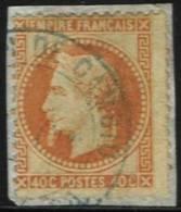 40 C. Orange Oblitéré En Bleu Admn De Cambio Sur Fragment - 1863-1870 Napoleone III Con Gli Allori