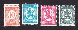 Bulgaria, Scott #293, 297, 299-300, Mint Hinged, Lion And Numbers, Issued 1936-39 - Unused Stamps
