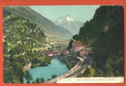 C1096 Pont Et Château De St-Maurice, Ligne Chemin De Fer Du Simplon,tunnel.Rhòne.Cac Het 1908.Jullien 181 - VS Valais