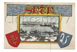 Sete Ou Cette(34) : Vue Sur Le Port Avec Blasons En 1930 (animé). - Sete (Cette)