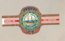 Bagues De Cigares-Tabac-Rokende Jan- Seal Of New Hampshire-Bateau à Vapeur- (USA)-N°40-Grand Format-Boat-Navire - Bagues De Cigares