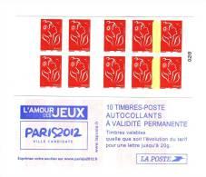 Carnet Lamouche Couverture Paris 2012 YT 3744-C1 Avec Pont De Phosphore Entre Timbres 4-5 Et 9-10 . Superbe , Voir Scan - Carnets