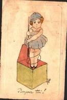 Illustrée Inspiration Militaire - Poupée Poilu Sortant D'une Boite, Signée à Déterminer - Other Illustrators