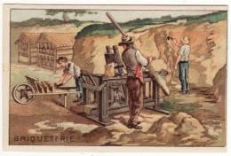 CHROMO Didactique Briqueterie Argile Briques Moule Presse Brouette Ouvriers - Chromos