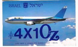 QSL- 48    ISRAEL : RISHON LEZION : 4X1OZ   (Boeing 567-258 - 4X-EAA Airplane)) - Carte QSL
