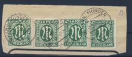 Bizone AM Post 4x Nr. 31 gestempelt used Briefausschnitt