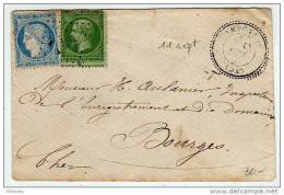 Septembre 71 : Lettre Du 11 Septembre Affranchie Par 20c Siège + 5c Empire Non Lauré - 1849-1876: Période Classique