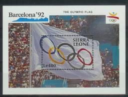 Mua859 SPORT OLYMPISCHE SPELEN VLAG OLYMPIC GAMES BARCELONA FLAG FLAGGE SIERRA LEONE 1990 PF/MNH - Zomer 1992: Barcelona