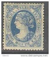 CUTE4-L2897C2.CUBA ESPAÑOLA.TELEGRAFOS .Isabel Ll.1869.(Ed 4*) Con Charnela.MUY BONITO - Elobey, Annobon & Corisco