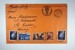 Liechtenstein, Cover 1938 Ballonflug, Hornussen To St. Gallen Schweiz, Nat. Briefmarken Ausstellung - Briefe U. Dokumente