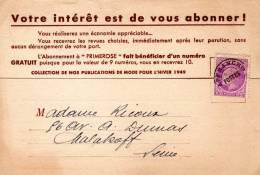 CERES DE MAZELIN - Préo 1,50F Lilas Sur Carte Postale Privée - 1945-47 Cérès De Mazelin