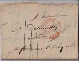BELGIQUE :  1834:précurseur De MONS Pour FONTAINE L'E¨VÊQUE + Texte.Cachet MONS Double Cercle Rouge. - 1830-1849 (Belgique Indépendante)