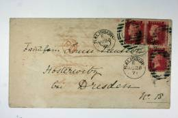 UK: Cover 1871, Salisbury To Dresden Germany Strip Of 2 + 1 - Covers & Documents