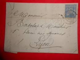 S16,lettre De Roanne Avec 25c.a Voir!! - 1876-1898 Sage (Type II)