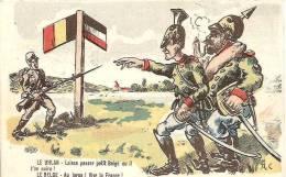 SATYRIQUE LE HULAN ET LE BELGE ILLUSTRE PAR A.C COULEUR ,A VOIR !!  REF 30828 - Weltkrieg 1914-18