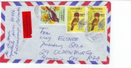 Kolumbien Luftpost Vögel Echt Gelaufen 1980 - Kolumbien