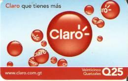 TARJETA DE GUATEMALA DE CLARO DE 25 QUETZALES - Guatemala