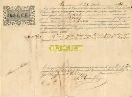 Reçu De Chargement Du Navire Le Mars, Cannes 1850, Capitaine Nommé, Cachets.... - 1800 – 1899