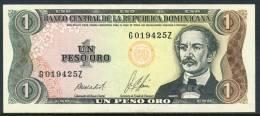 1987 Dominican Republic 1 Peso Banknote In Almost Uncirculated Condition - Dominicana