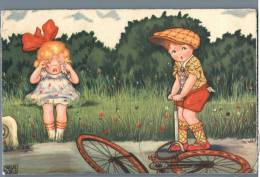 Girl And Boy With The Broken Bicycle - 1930s - Kinder
