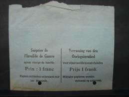 """MilDoc C17. Enveloppe """" Surprise De L'Invalide De Guerre Ayant Charge De Famille Prix 1 Franc"""" - Documents"""
