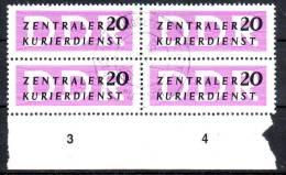 Mi-Nr. 9, Zentraler Kurierdienst, Gestempelt Ungültig 31.12.1957 Im 4er-Block, Los 26937 - Service