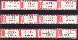 12 Verschiedene R-Zettel Köln, Gemäss Scan, Los 30686 - R- & V- Vignette