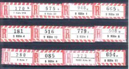 12 Verschiedene R-Zettel Köln, Gemäss Scan, Los 30687 - R- & V- Vignette