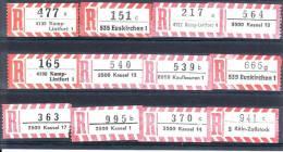 12 Verschiedene R-Zettel  Kassel. KampLiontfort, Köln-Zollstock, Gemäss Scan, Los 30691 - R- & V- Vignette