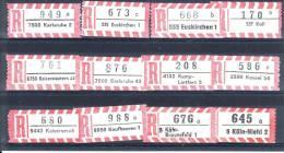 12 Verschiedene R-Zettel  Kaisersesch, Karlsruhe, Kassel, Köln-Niehl, Etc, Gemäss Scan, Los 30710 - R- & V- Vignette