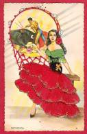 FANTAISIES CARTE BRODEE ESTOCADA  EMBROIDERED POSTCARD  N° 9 TORO TAUREAU CORRIDA - Bestickt