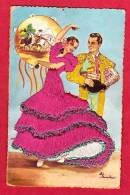 FANTAISIES CARTE BRODEE ANDALUCIA  EMBROIDERED POSTCARD ELOI GUMIER ANDALUCIA  N°41 TORRERO - Bestickt