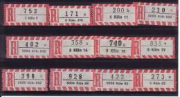 12 Verschiedene R-Zettel Köln, Gemäss Scan, Los 30751 - R- & V- Vignette