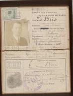 Carte D'identité Ordre Des Avocats à La Cour De Paris En 1926 Timbre Dimension 4 Francs 2/10e En Sus , Rare - Vieux Papiers