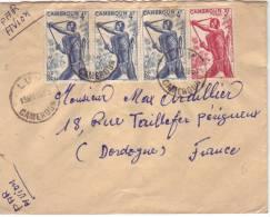 Bel Affranchissement Composé Des Timbres YT 288 (bande De 3) Et 286 (tireur à L'arc) De Lum à Périgueux Du 13/5/1953