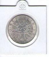 AUSTRIA ,ÖSTERREICH , 25 SCHILLING 1968 ,300TH ANNIVERSARY  OF LUKAS VON HILDEBRANT SILVER COIN - Austria