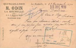 17 LA ROCHELLE QUINCAILLERIE ODIN CARTE LETTRE - La Rochelle