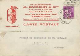 73 ALBERTVILLE ETS BURDIN QUINCAILLERIE RUE DE LA REPUBLIQUE CARTE LETTRE ENVOYEE A REVIN ARDENNES EN 1935 - Albertville