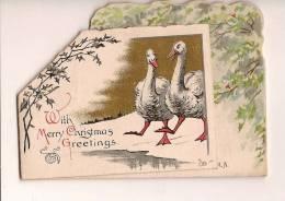 """Carte De Voeux/""""with Merry ChristmasGreetings...""""/oies Et âne / Angleterre/TUCK /vers 1920      CVE15 - Non Classés"""